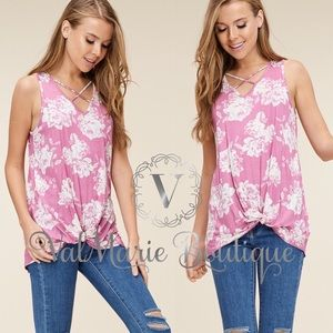 Pink floral cross front tank top